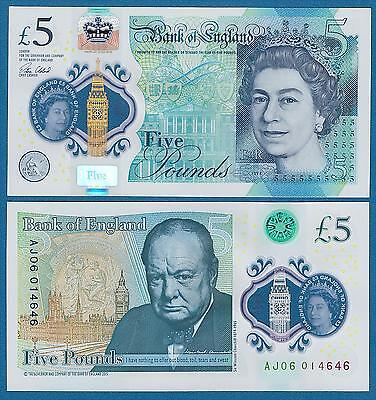 England 5 Pounds P New 2015 (2016) UNC Polymer CHURCHILL Great Britain UK