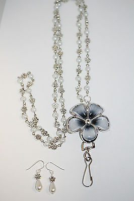 Grey & Silver Flower with Cream Pearl and Silver Flower Beaded Lanyard Necklace