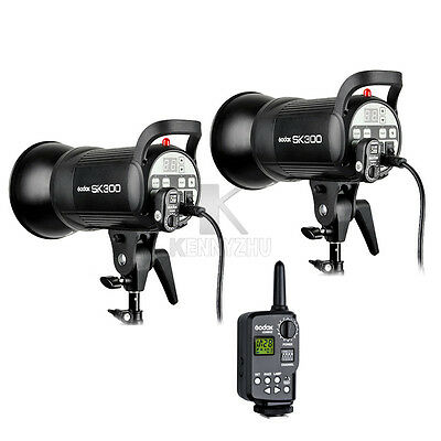 2xGodox SK300 300W Studio Flash Light Strobe Wireless Trigger FT-16 Lighting Kit