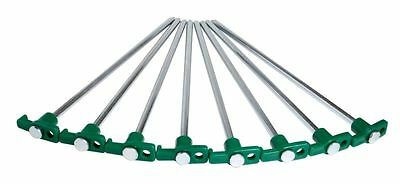 "Groundhog Tent Pegs Pack 8 Pieces 10"" Plastic Hooks Hard Ground Camping"