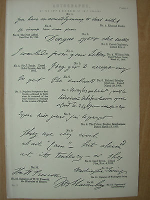 ANTIQUE 1880 VICTORIAN PRINT AUTOGRAPHS OF THE 19th CENTURY