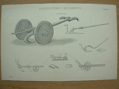 Antique 1880 Victorian Print Agricultural Implements Plate 1 Farming