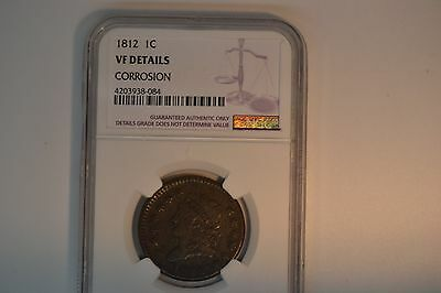 1812 Classic Head Large Cent- NGC VF Details Corrosion.
