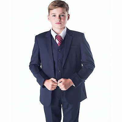 BOYS SUITS BOYS Navy Suit Boys Wedding Suit Page Boy Party Prom 5 ...