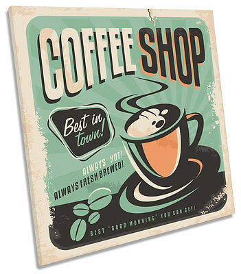 Coffee Shop Kitchen CANVAS WALL ART SQUARE Picture Print