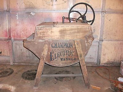 antique champion electric wooden washing maching rare first electric boss maytag