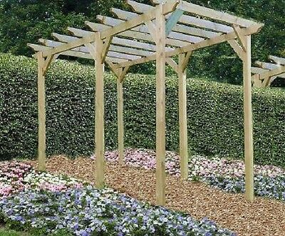 4m x 4m  Wooden Notched  Garden Pergola NEW - various post lengths available
