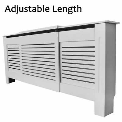 Adjustable Painted White Radiator Cover MDF Cabinet Shelf Slats Modern decorate