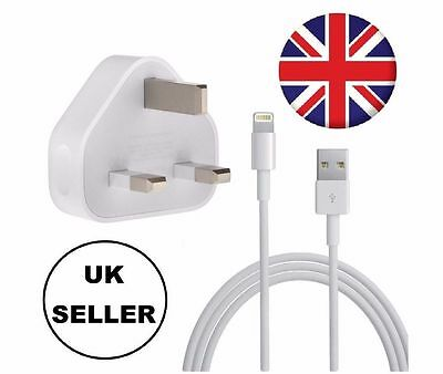 Mains Charger USB Wall Plug / Data Sync Cable For Apple iPhone 6s 5 iPad UK