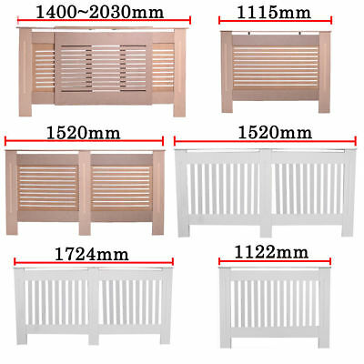 Painted White Radiator Cover MDF wood Cabinet Shelf Slats Vertical Moder style