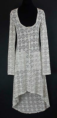 Free People BEACH Sz S Beige LS Hi Lo Button Front Lace Cover Up Duster B356