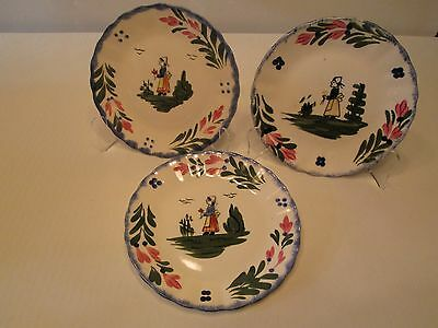 """Set of 3 7"""" Plates Dessert Peasant Style By Blue Ridge Southern Potteries USA"""