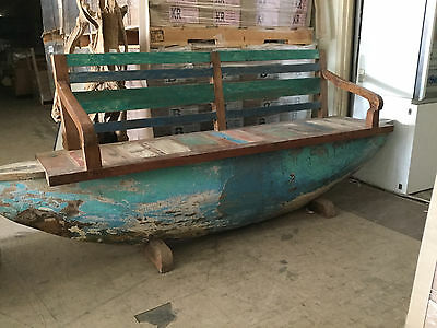 vintage Boat Timber Garden Bench Seat Boho Chair