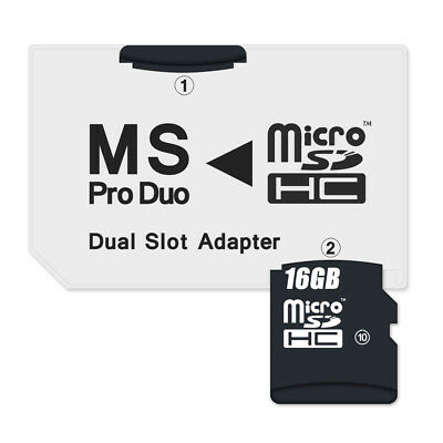 Dual Slot Micro SD to Memory Stick Pro Duo Adapter SDHC SanDisk Toshiba Sony PSP