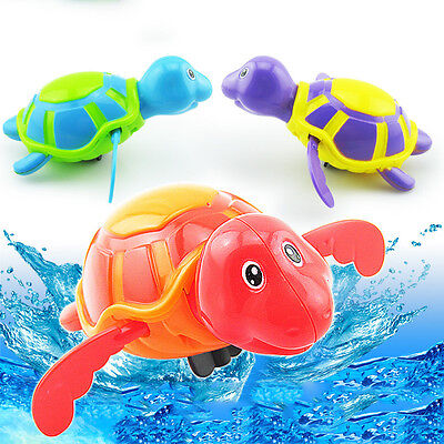New Baby Kids Cute Swimming Turtle Chain Clockwork Shower Bathing Bath Water Toy