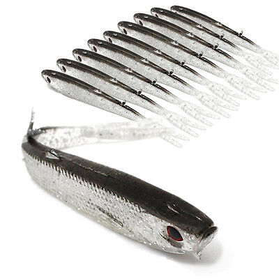 10x Tiddler Soft Fishing Lure Minnow Swimbait Artificial Crank Bait Tackle 75mm