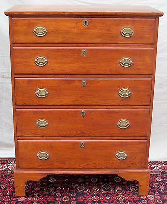 18Th Century Chippendale Blanket Chest With Uss Constitution Brasses