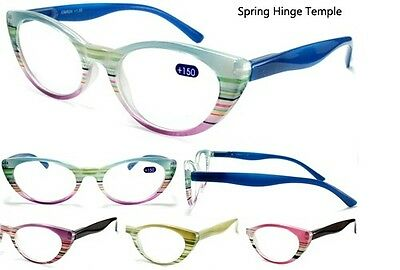 Womens Reading Glasses Rainbow Floral Flower Colors Style Fashion Cat Eye Lens