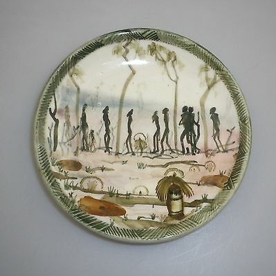 Rare Arthur Merric Boyd  Amb Pottery Plate Decorated With An Aboriginal Tribe