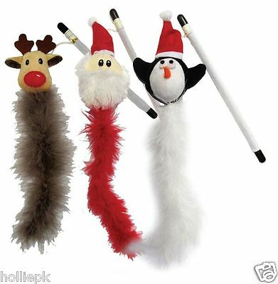 Set Of 3 Good Girl Christmas Cat Kitten Festive Feather Wand Toys With Catnip