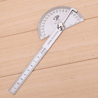 Student Stainless Round Head Rotary Protractor Angle Rule Measuring Tool New