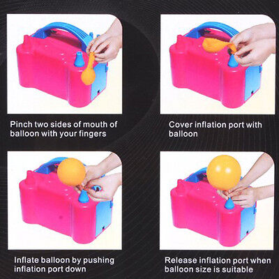 Hot Electric Balloon Inflator Pump Two Nozzle High Power Air Blower Portable GT
