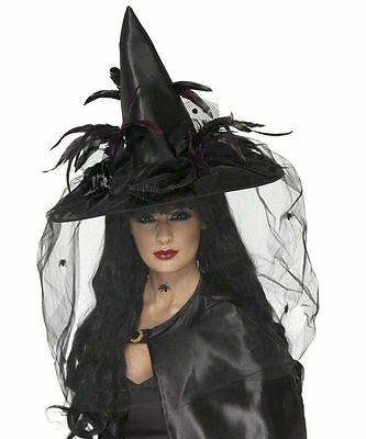 Smiffy's Deluxe Black Witch Hat with Veil Halloween Fancy Dress