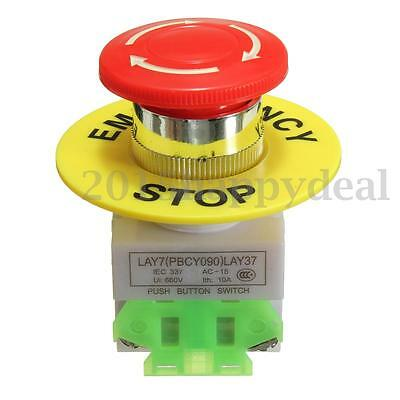 Mushroom Cap 1NO 1NC DPST Emergency Stop Push Button Switch AC 660V 10A
