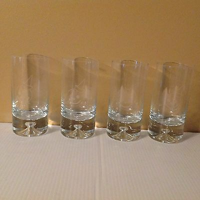 Krosno Poland Crystal Drinking Bar Glasses 4 Heavy Tumblers Etched Smile Face