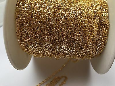 Gold Brass metal chain shiny closed loops - 3mm x 4mm - 2 meters