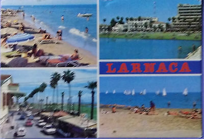 Cyprus postcard: Larnaca Town, multiple views of the beach, posted with stamps.