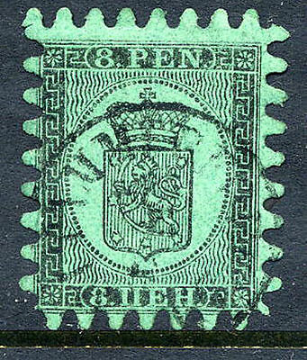 FINLAND 1866 8p black/green roulette III used