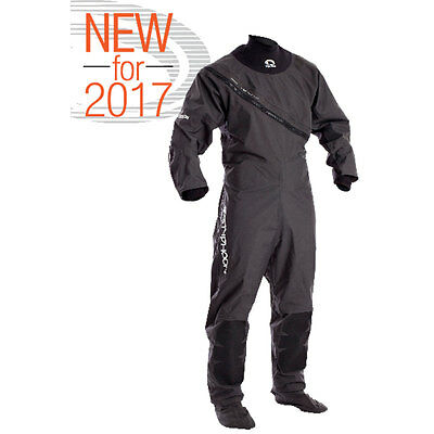 2017 Typhoon Ezeedon 3 Mens Front Entry Drysuit With Socks Black Grey