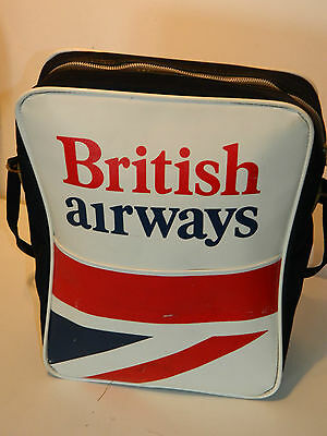 VINTAGE 1970 ancien SAC BRITISH AIRWAYS tasche BAG union Jack flag AIRPLAINE