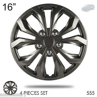 """New 16"""" Hubcaps ABS Gunmetal Finish Performance Wheel Covers Set For Mazda 555"""