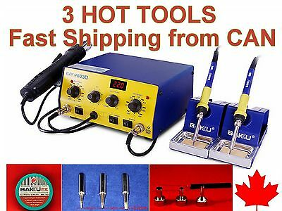 3 HOT TOOLS SMD Soldering Rework Station HOT AIR & TWO IRONS 603D