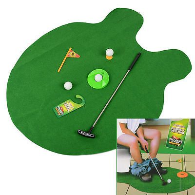 Funny Toilet Bathroom Mini Golf Mat set Potty Putter Putting Game Novelty Gift