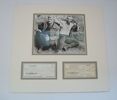 Paul Newman & Robert Redford Hand Signed Autographed Cheques AFTAL Approved