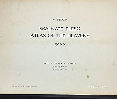 1950.0 Skalnate Pleso Atlas of the Heavens, A. Becvar; Complete Set - Rare