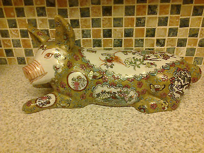 Beautiful Oriental Pig Figurine Hand Painted Birds Flowers Butterfly Stamped