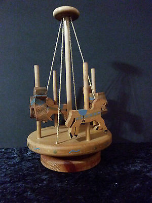 Hand made wood Carousel Horse pony shelf table collectible