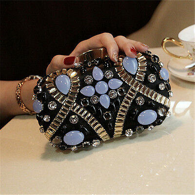 Women Fashion Blue Diamond Black Metal Hard Evening Clutch Bag Handbag Purse Box