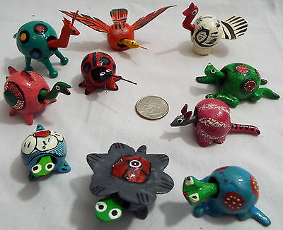 Lot of 10 Assorted Bobble Head Animals in Various Colors Turtle Bug Giraffe Frog