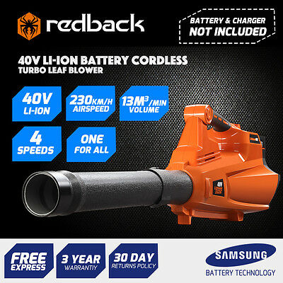 Redback 40V Cordless Leaf Blower 121MPH 4-Speed - Without Battery and Charger