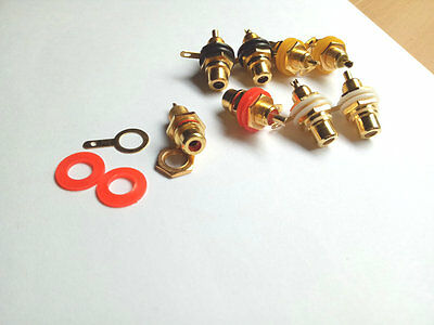 80pcs 4 color Gold Plated RCA Female Jack Panel Mount Chassis Socket connector