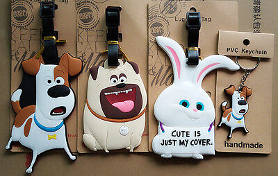 4 Styles The Secret Life of Pets Max Mel Snowball Travel Keychains Luggage Tags