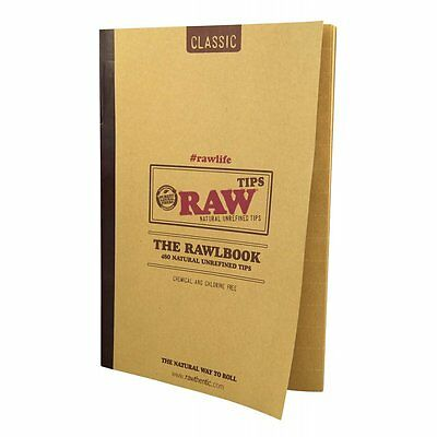 Raw Book Classic Tips Unrefined  Rolling Papers Smoking Cigarette Tobacco 480