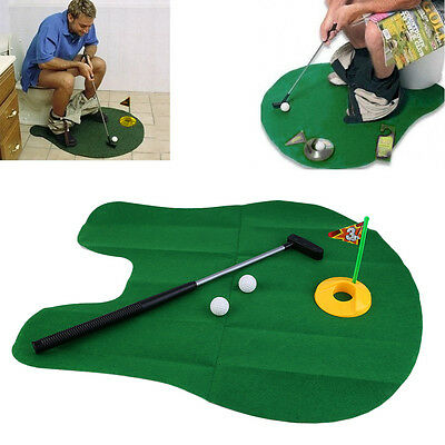 Funny Potty Putter Toilet Time Mini Golf Game Novelty Gag Gift Toy Mat AO
