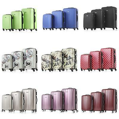 """4 Wheel Spinner ABS 3 Piece Luggage Set Hardside Suitcase 20""""/24""""/28"""" Z5W6"""