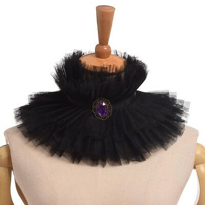 Black Ruffled Renaissance Enlightenment theatrical jabot Choker Witch Collar